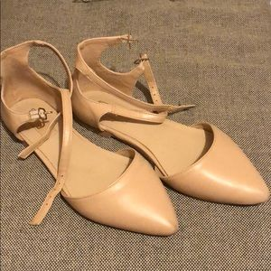 Nude double strap flats